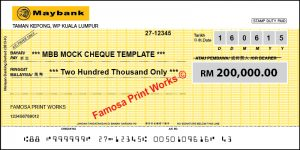 Mock Cheque Maybank
